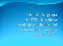 """Уметничка група """"АКТЕРИ"""" из Ваљева расписује међународни стрип конкурс у оквиру И СТРИП ФЕСТА."""